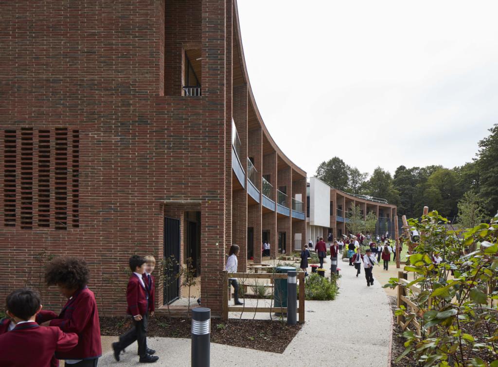 Back of school arranged in crescent shape