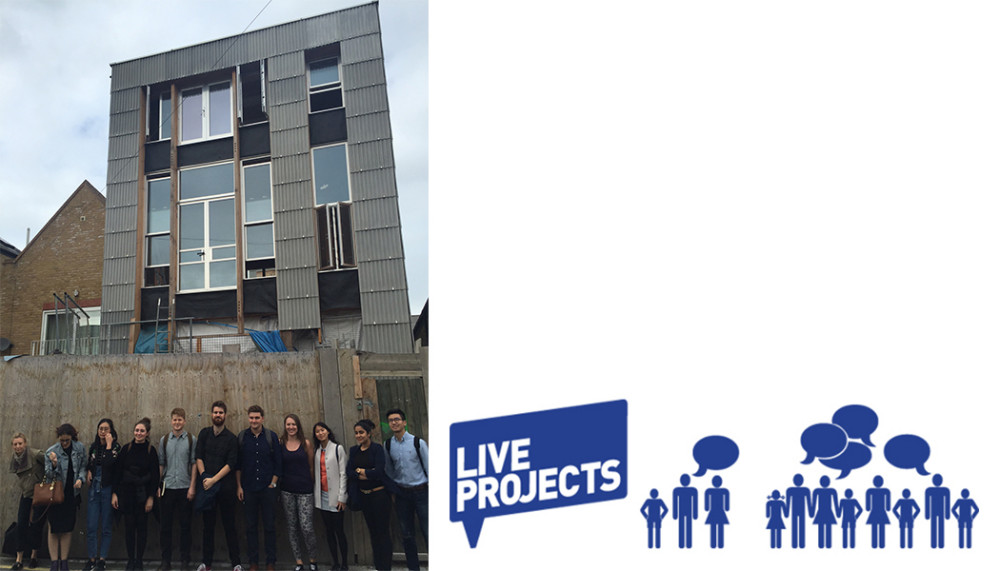 Students standing in a row outside self-build project