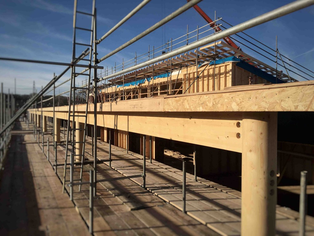 image of external works progressing, glulam soffit, clerestory windows