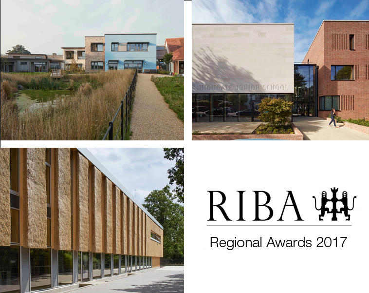 Image of 3 shortlisted projects and RIBA logo