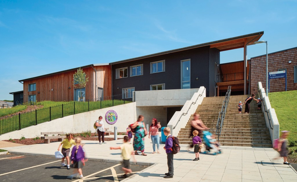 front entrance to new school, Ysgol Trimsaran