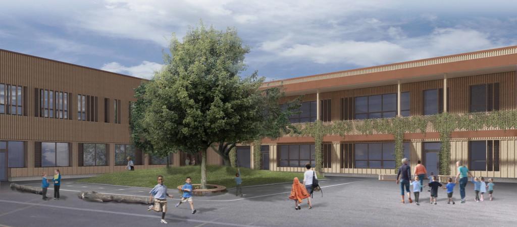 Courtyard view of new school
