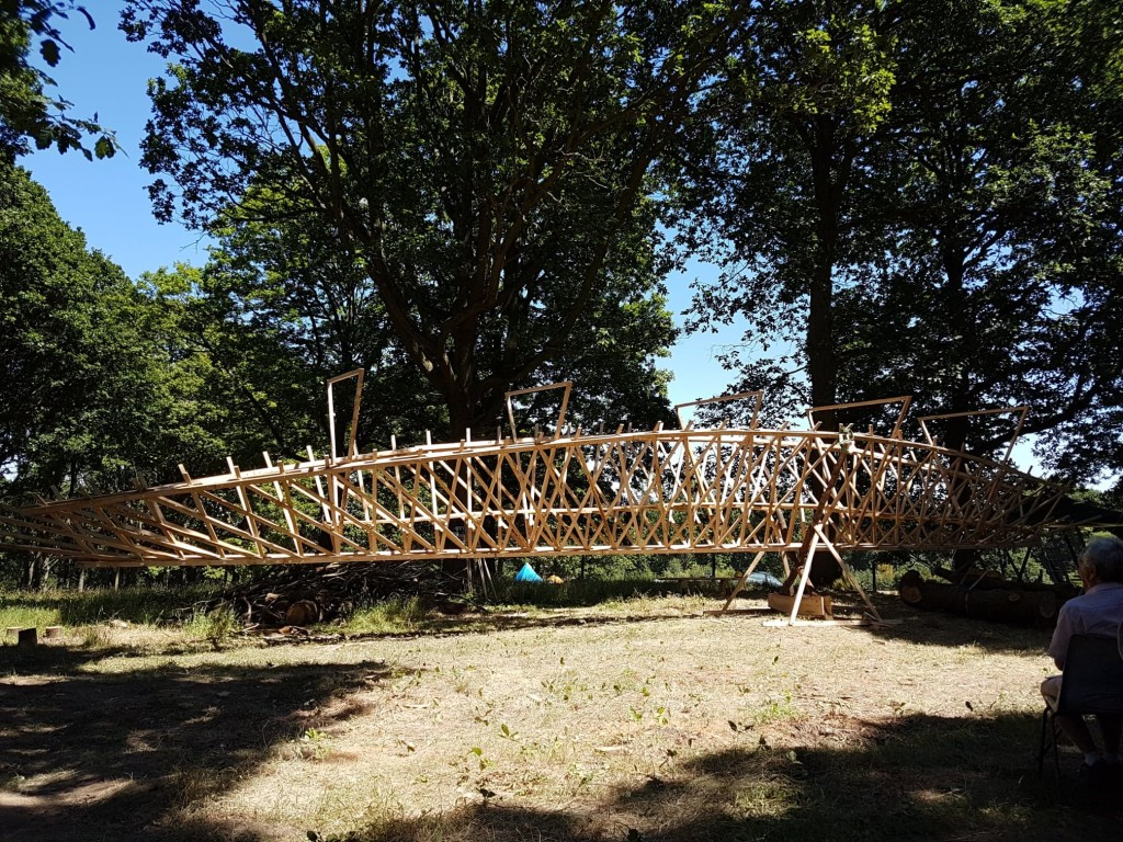 Photo of truss structure made of sections of oak