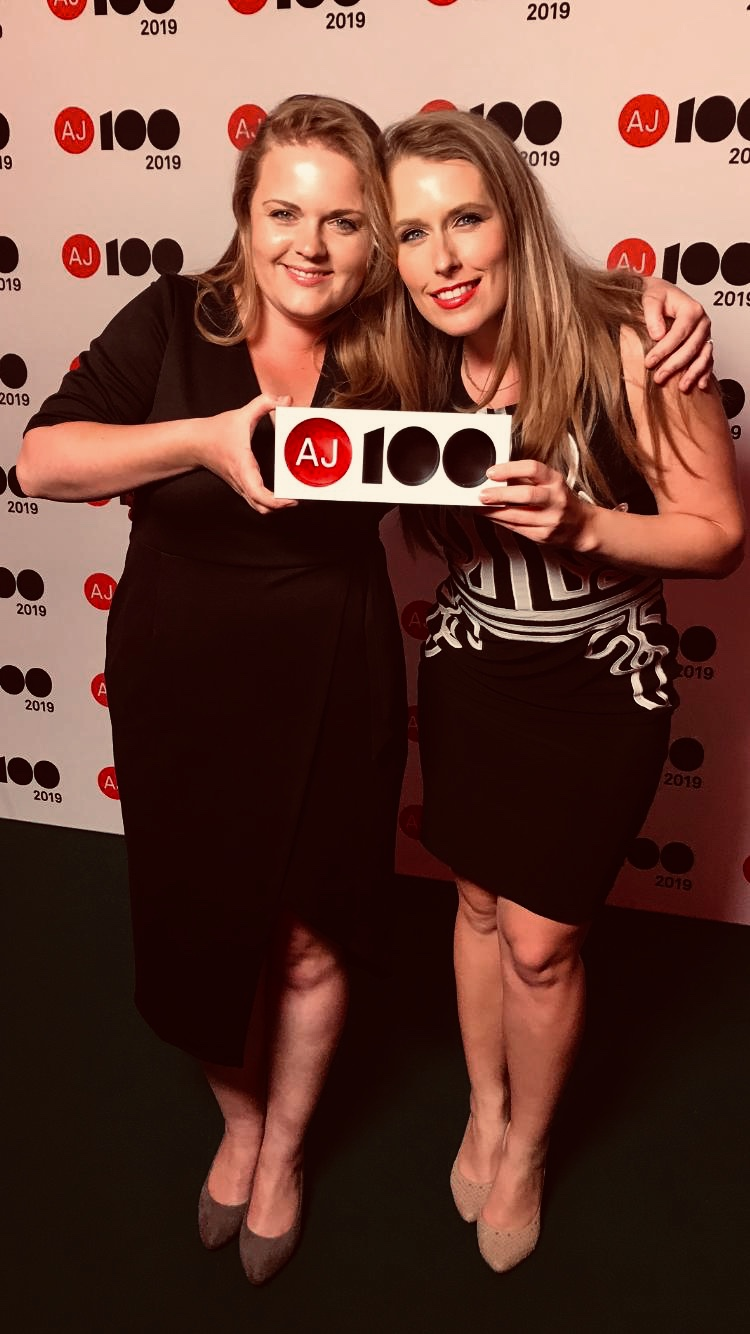Head of Business Development Manager Jessica Taylor and Associate & CEPH Designer Ann-Marie Fallon collect their AJ100 Sustainable Practice of the Year Award