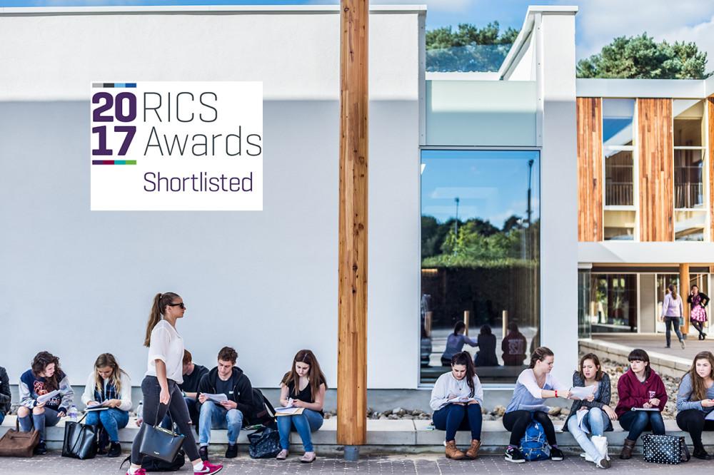 image of the enterprise centre with RICS awards shortlist logo