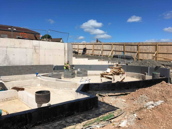 Image of the foundations in place for the gellideg wellbeing centre